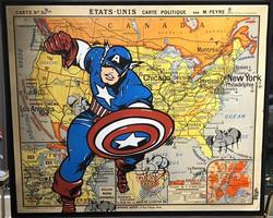CAPTAIN AMERICA MAP 100X120CM