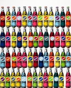 52 bouteilles de Sinalco multicolores 100X80CM