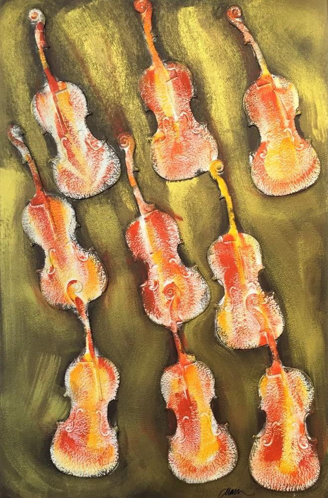 Empreintes de violon orange 151X101