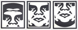 Obey 3 Face (White) - triptyque