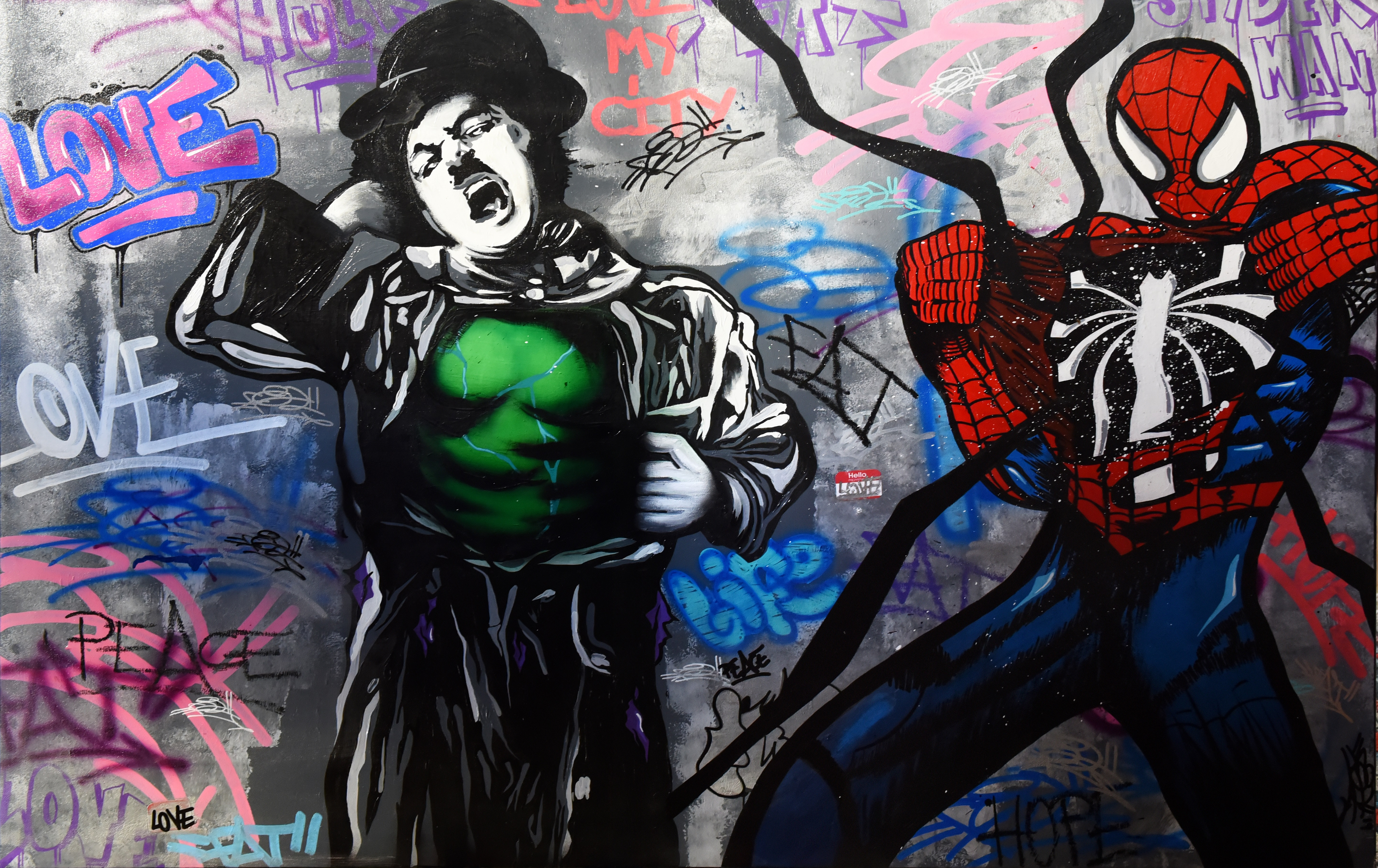 CHAPLIN VS HULK VS SPIDERMAN 89X130