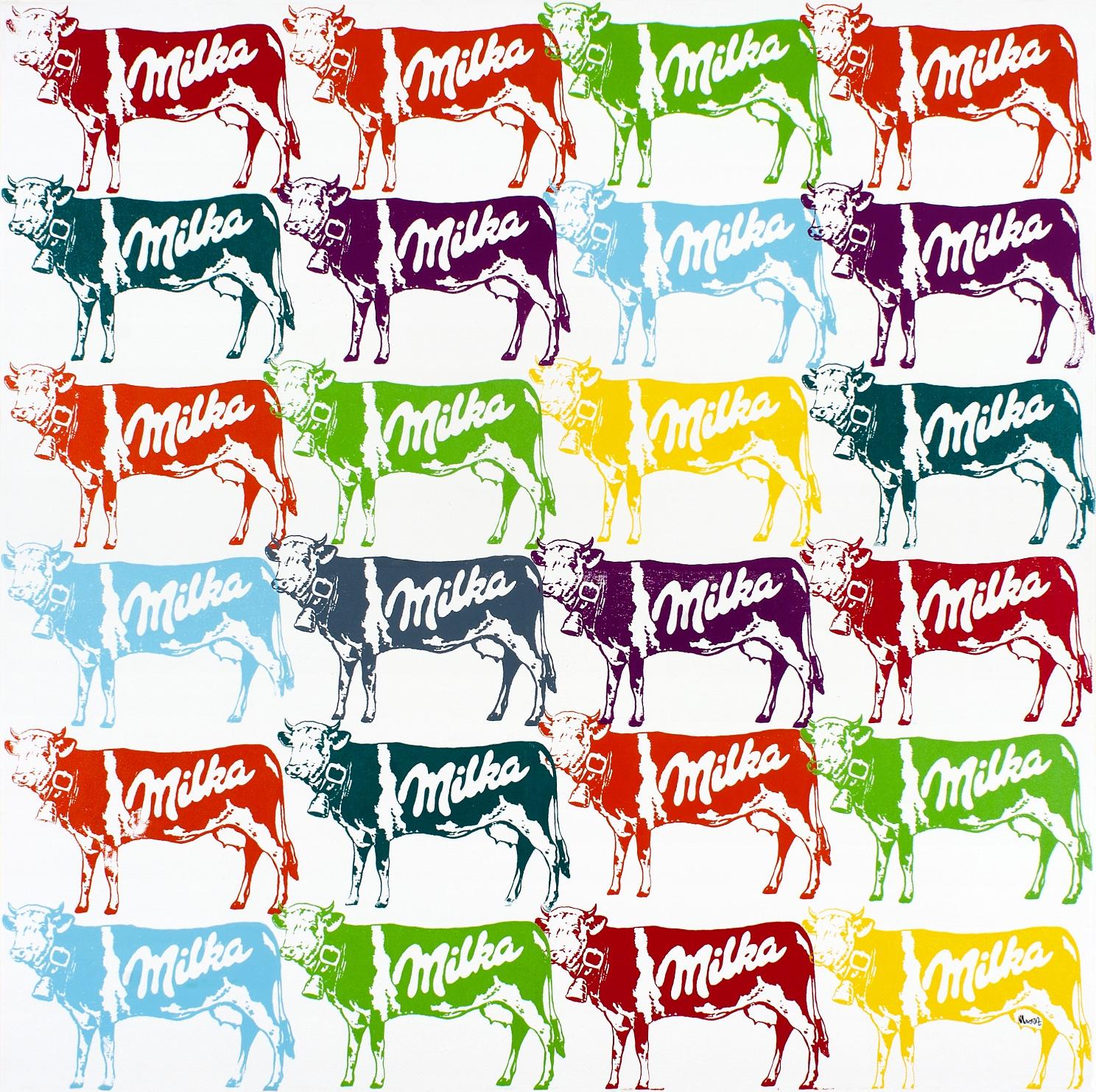 24 vaches Milka multicolores 100X100CM