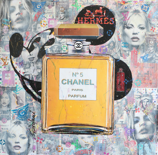 CHANEL PARIS PARFUM MICKEY 101X101CM