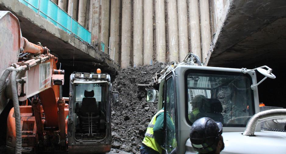 Excavation to basement level 2 progresses on 8th February 2017