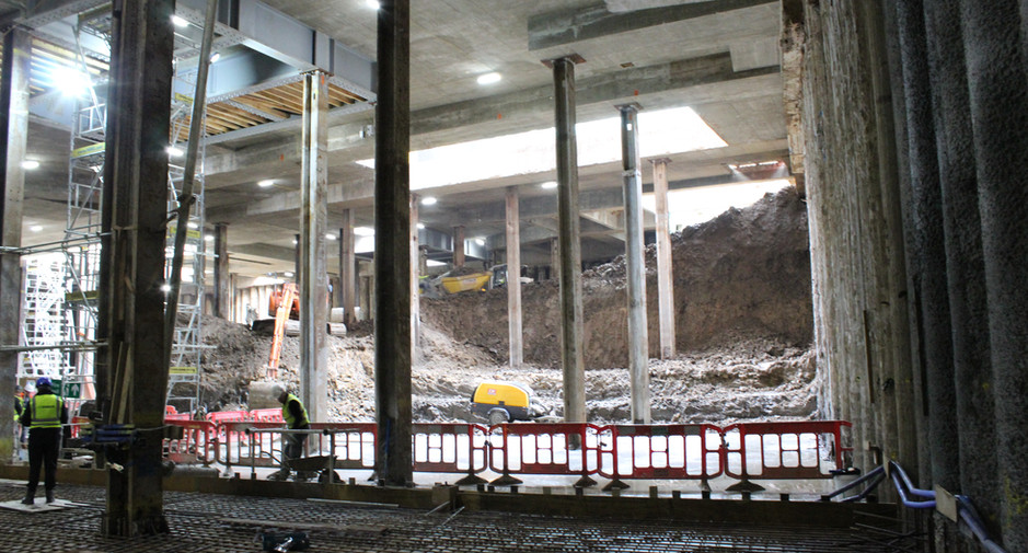 The excavation to basement level 1 continues, seen on 24th November 2016