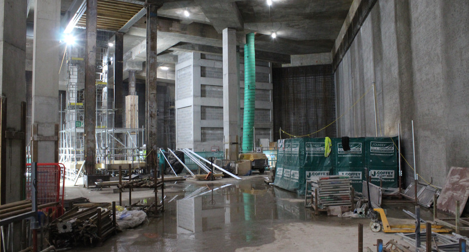 Staircore and lift shaft construction seen on 30th May 2017