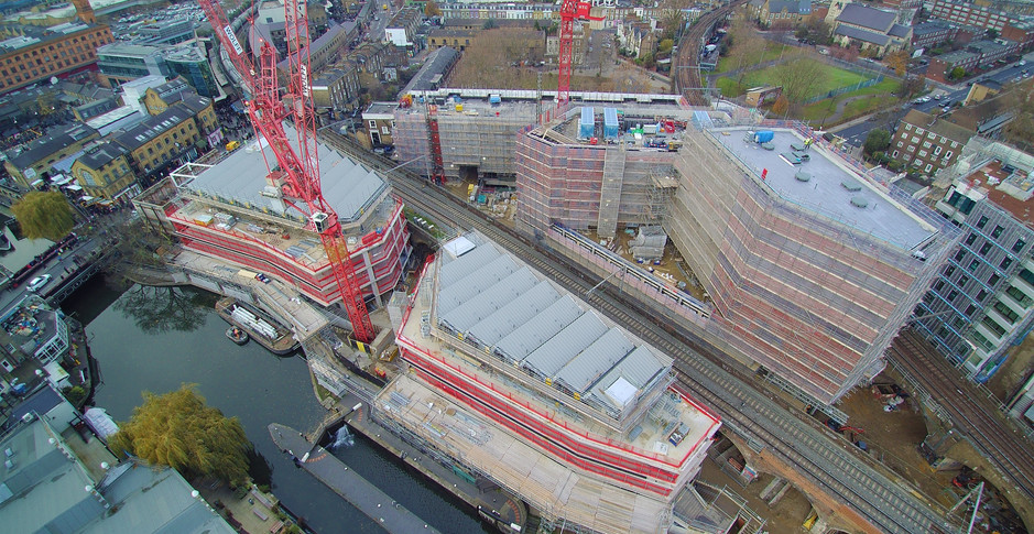 Aerial view of the development showing superstructure nearing completion on 3rd December 2017