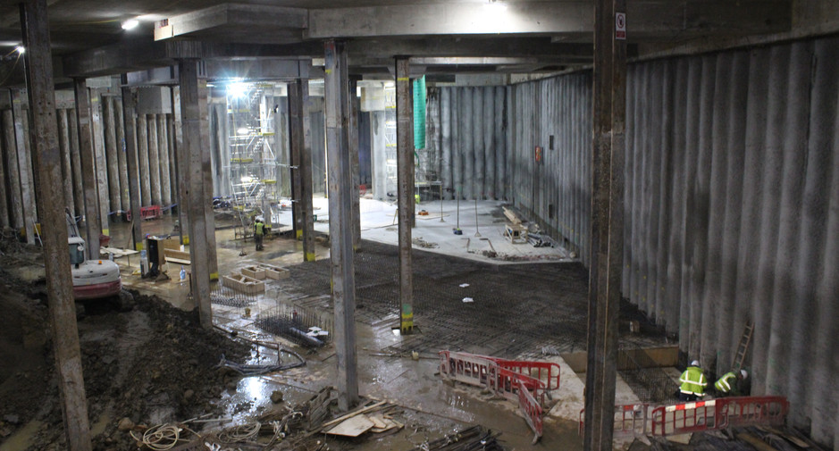 The first sections of basement level 1 slab are formed, seen here on 29th November 2016