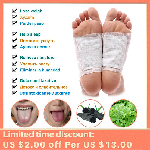 200pcs Kinoki Detox Foot Patches Wormwood Bamboo Charcoal Pads