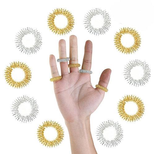 5Pcs Finger Massage Ring Acupuncture Health Care Body Acupressure Massager