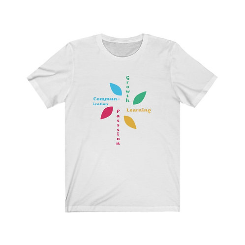 """""""Passion, Communication, Growth, Learning"""" Unisex Jersey Short Sleeve Tee"""