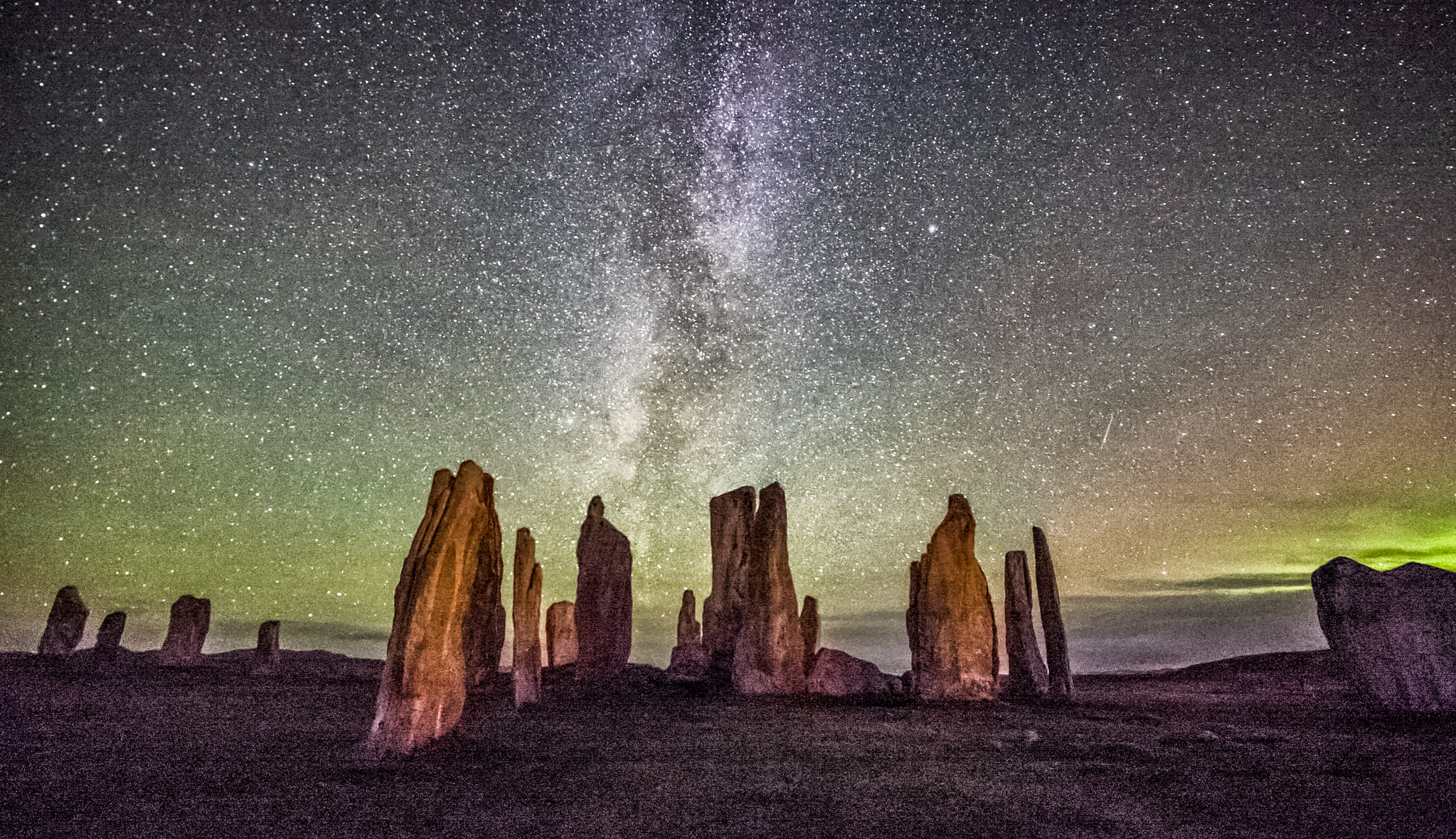 Callanish Milky way aurora and air glow.