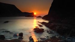 Sunrise in Man of War Beach Dorset