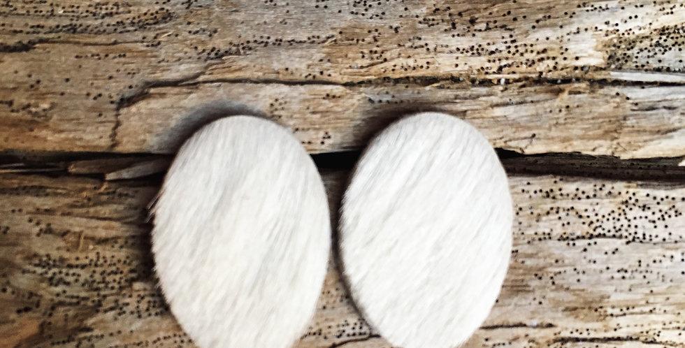 White Fur Oval Stud