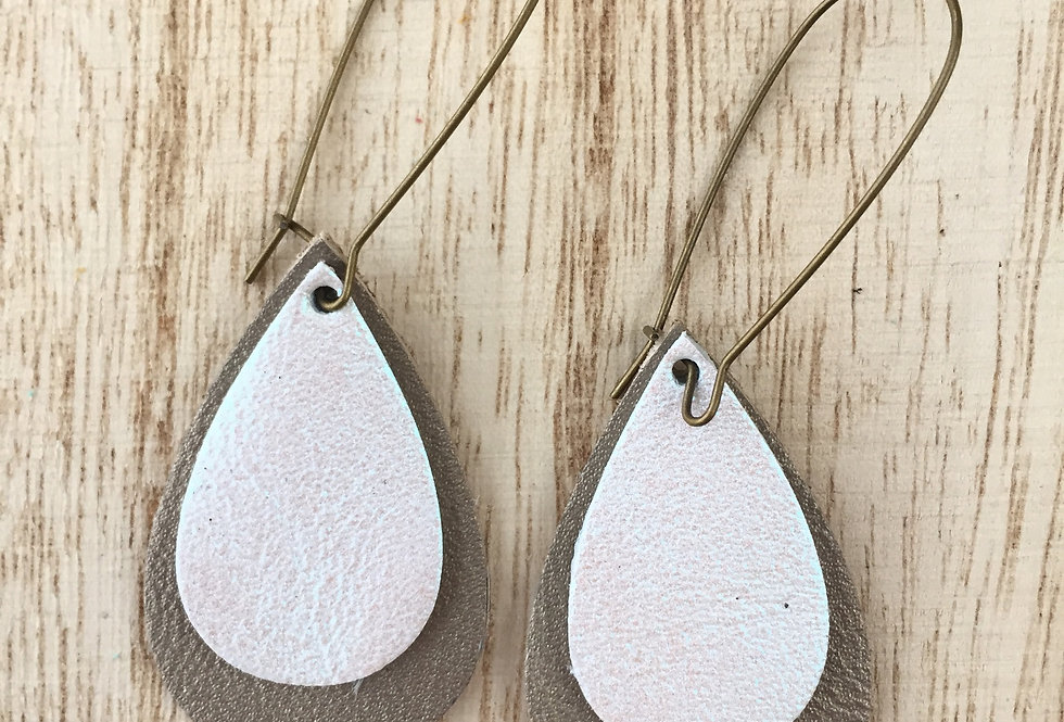 White-Taupe Double Shimmer Drop Teardrop