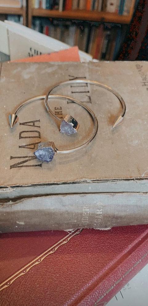 amethyst crystal cuff bangle and rose quartz cuff bangle