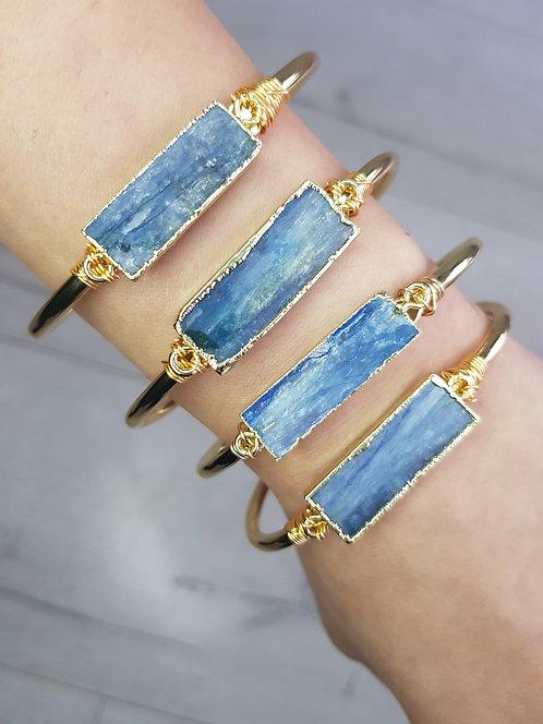 Whisper Cuff Bangle - Blue Kyanite Stone