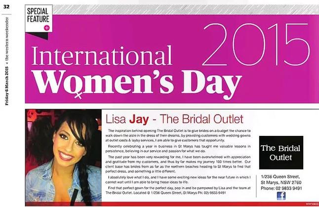 International Women's Day 2015 -Featured in The Western Weekender