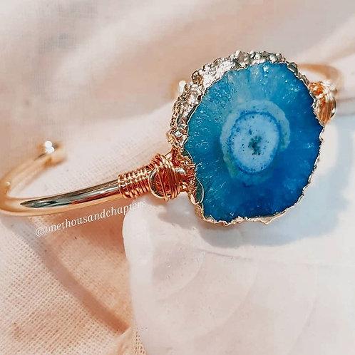 Blue Agate Druzy - Jupiter Bangle