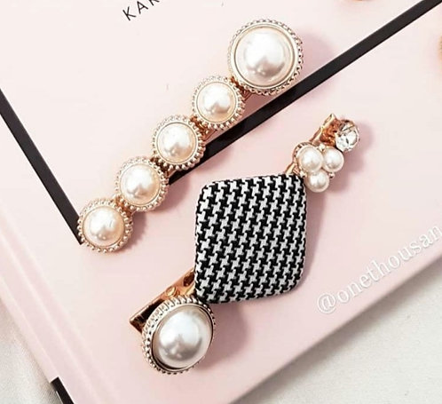 As If - Houndstooth Hair Clip Duo