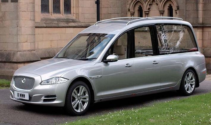 Silver Jaguar Hearse