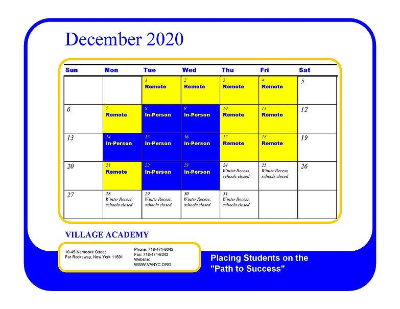 2020-2021 Village Academy School Calenda