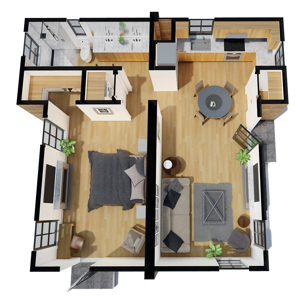 3D floor plan HAUS+ prefab green sustainable flagship 1-bedroom ADU model HAUS+ green building sustainable second unit