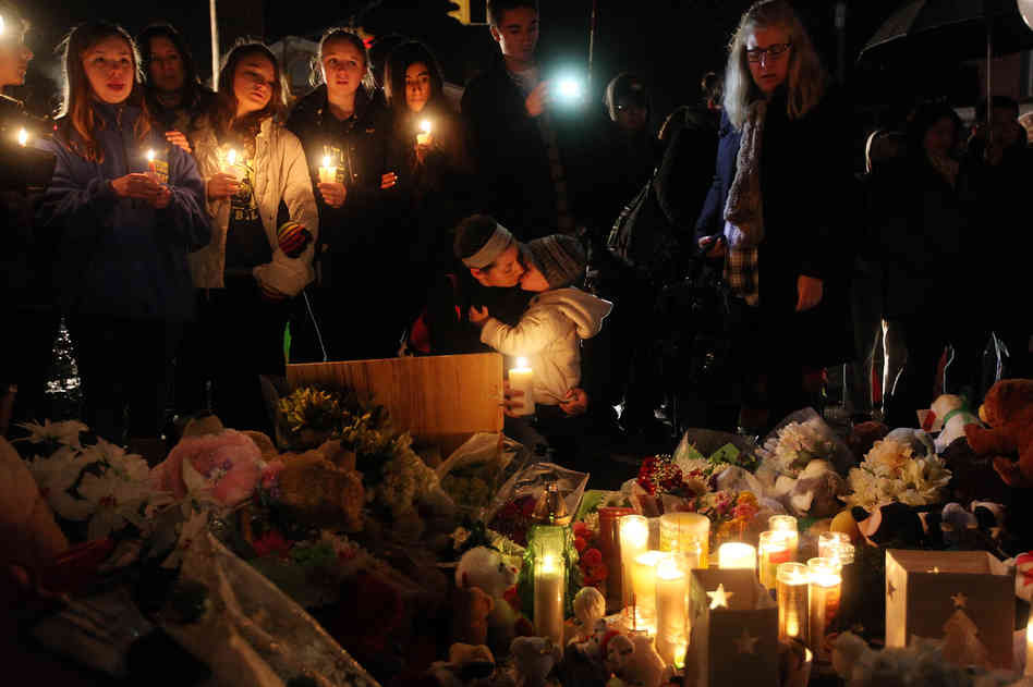 A candlelight vigil following the Sandy Hook massacre.