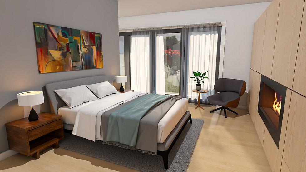 Spacious luxurious bedroom HAUS+ prefab green sustainable studio ADU model MENOS green building sustainable second unit