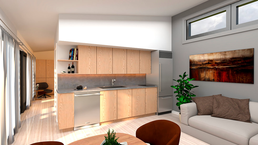 Beautiful open living space HAUS+ prefab green sustainable studio ADU model MENOS green building sustainable second unit