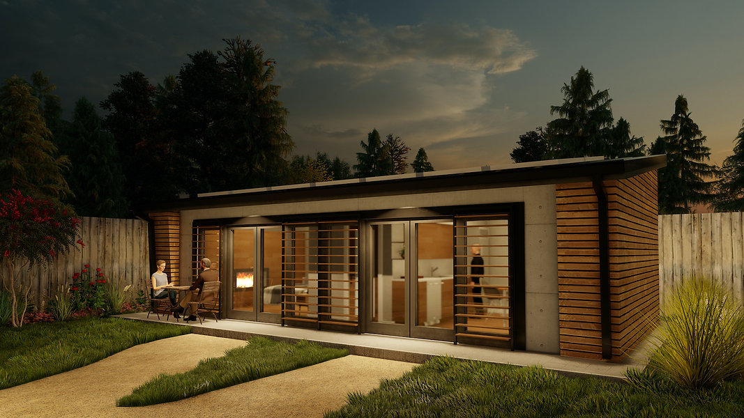 Front exterior view HAUS+ prefab green sustainable studio ADU model MENOS green building sustainable second unit
