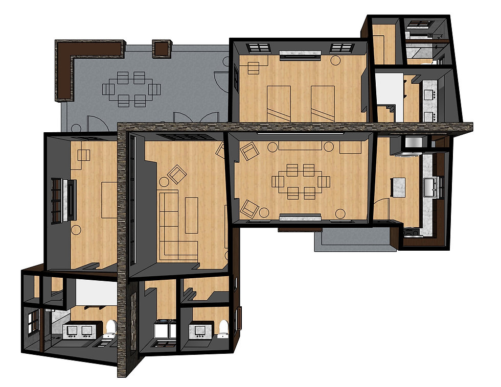 3D floor plan HAUS+ prefab green sustainable flagship 2-bedroom ADU model HAUS+HAUS green building sustainable second unit