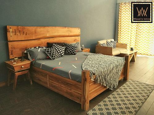 Live edge teak and oak bed