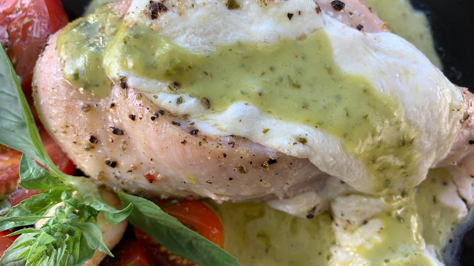 Chicken Breasts Stuffed With Soft Mozzarella & Topped With Creamy Pesto Sauce - Keto Friendly