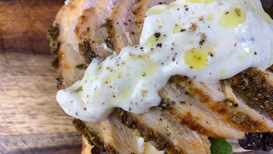 Roasted Rosemary Chicken With Lemon Aioli On Top of Toasted Garlic Bread