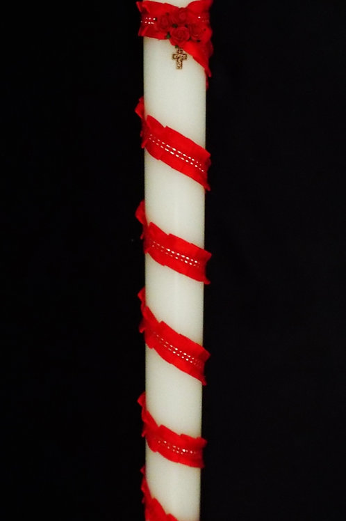 """""""...Red Roses Cross"""" © - Christening Candle"""