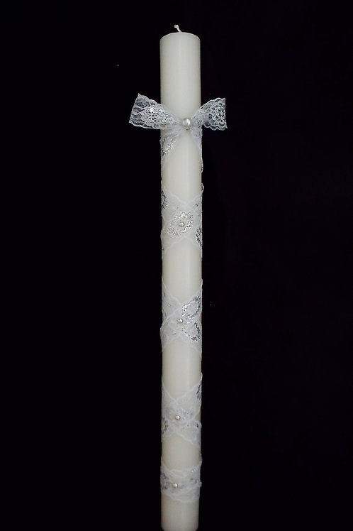"""""""...Pearls of Silver Elegance!"""" Candle"""