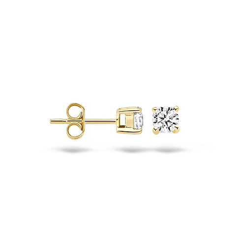 7128YZI Blush oorstekers geelgoud zirconia 3mm