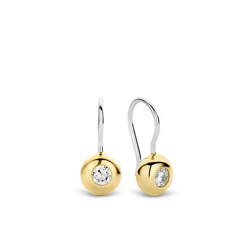 7757ZY Ti Sento zilveren oorhangers geelgoud verguld zirconia
