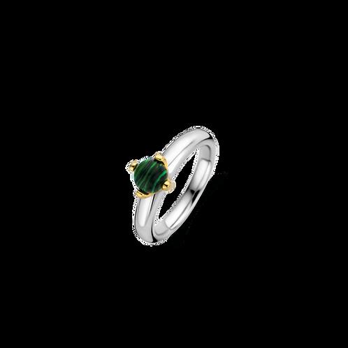 12126MA Ti Sento zilveren ring geelgoud verguld met malachietsteen