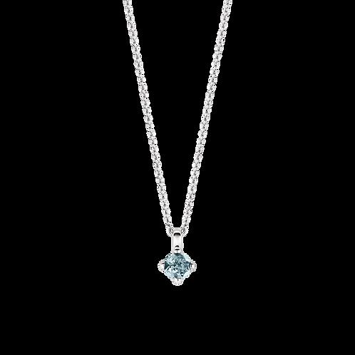 3926WB Ti Sento zilveren collier met blauwe steen