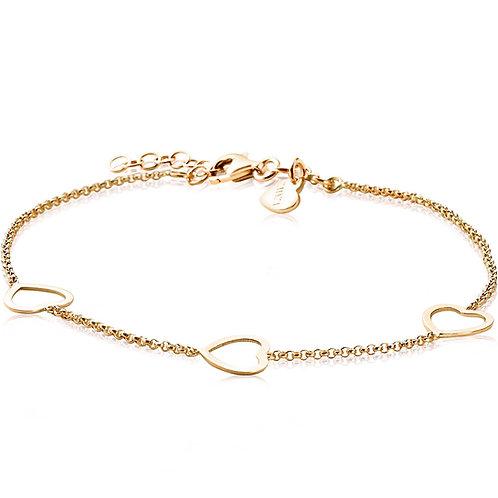 ZIA1188G ZINZI zilveren armband geelgoud verguld met 3 hartjes