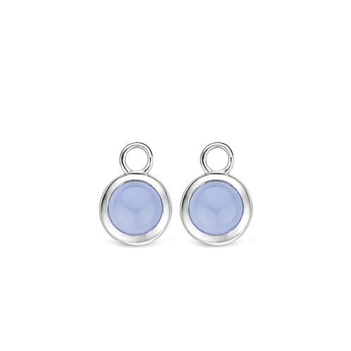 9167LA Ti Sento zilveren oorbedels met lavendelkleurige steen