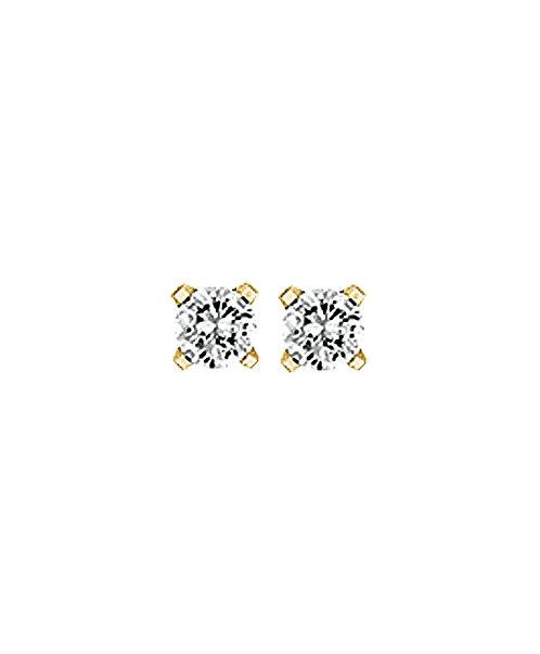 25221203 Geelgouden oorknoppen zirconia chaton 3mm