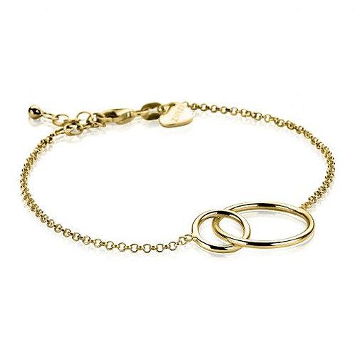 ZIA1278G ZINZI zilveren armband geelgoud verguld 2 rondjes