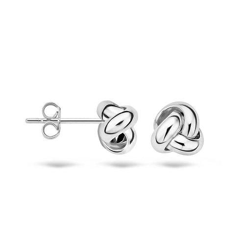 7157WGO Blush oorstekers witgoud knoop 6.7mm