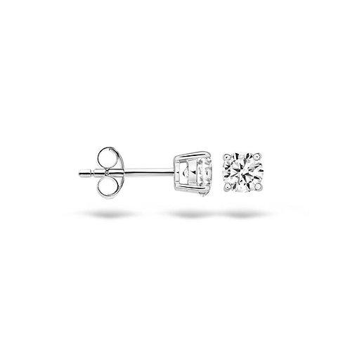 7127WZI Blush oorstekers witgoud zirconia 4mm