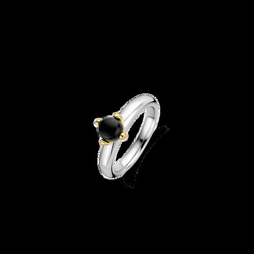 12126BO Ti Sento zilveren ring geelgoud verguld zwarte onyx steen