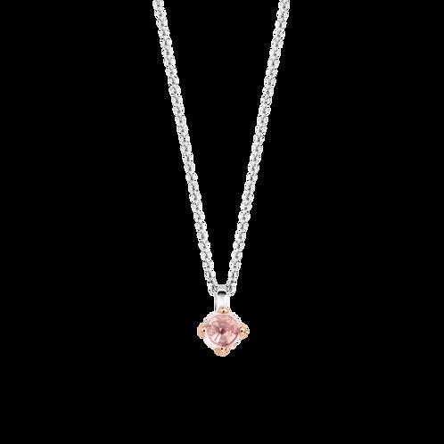 3926NU Ti Sento zilveren collier roségoud verguld roze crystal