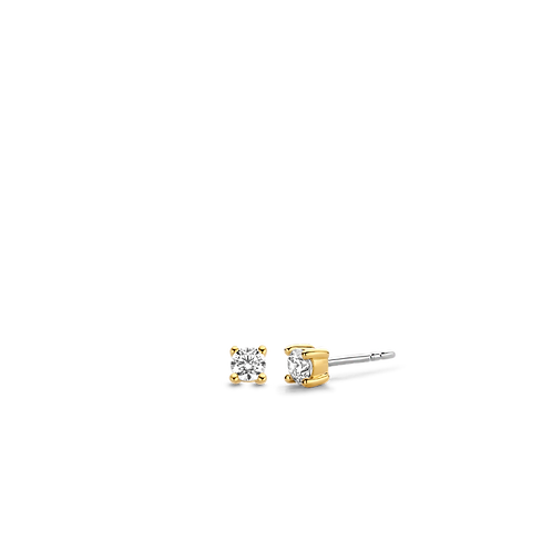 7836ZY Ti  Sento zilver vergulde oorstekers met zirconia